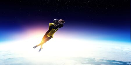 American football player in space Imagens