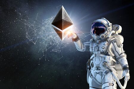 Astronaut with Crypto currency space. 3d rendering