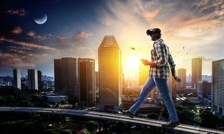 Guy experiencing virtual reality. Mixed media