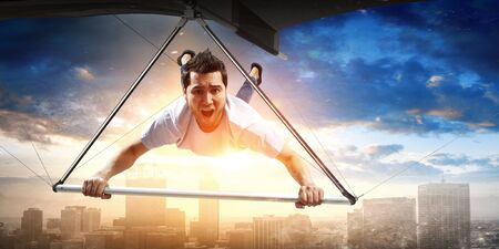 Extreme hang glider. Mixed media 版權商用圖片