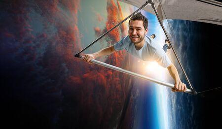 Man Extreme hang glider. Mixed media