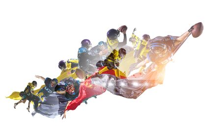 Abstract image with american football players on white background. mixed media
