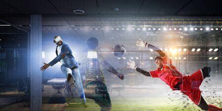 African man in virtual helmet . Mixed media Banco de Imagens
