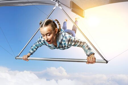Extreme hang glider. Mixed media 스톡 콘텐츠