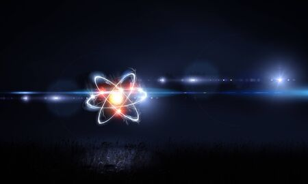 Atom molecule on space background as science concept. 3d rendering Banque d'images
