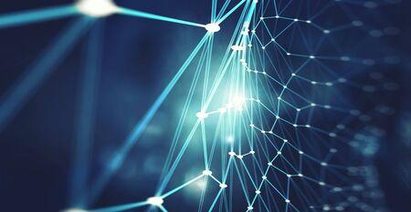 Netwerken en sociaal verbindingsconcept. 3D-weergave Stockfoto