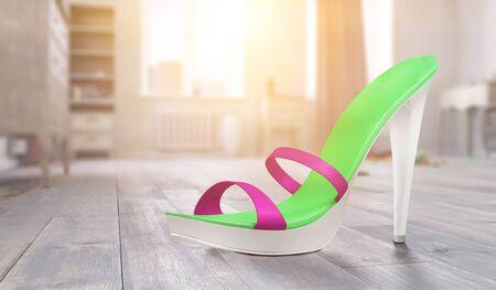 High heels sandal in cosy home interior. Mixed media Reklamní fotografie