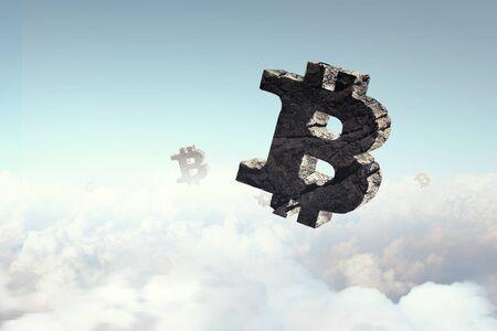 Stone bitcoin crypto currency symbol. Mixed media