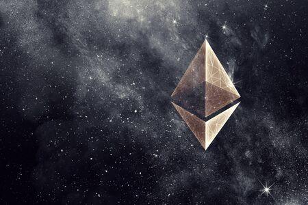 Ethereum crypto currency sign on dark space background. 3d rendering Zdjęcie Seryjne