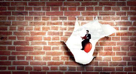 Hole in wallpaper. Mixed media