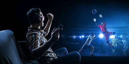 Enjoy the reality of game. Mixed media Stock fotó