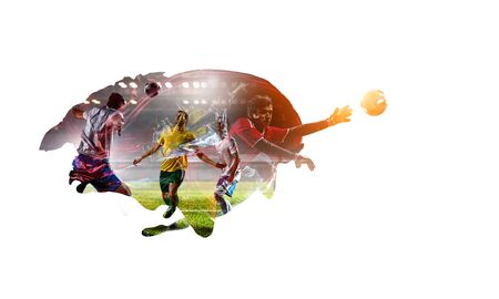 Abstract image with football players on white background. Mixed media Фото со стока