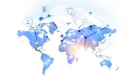 Imagen conceptual de fondo con el mapa del mundo de los medios. Representación 3d