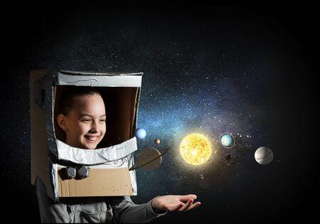 Girl explore space concept. Mixed media