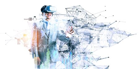 Young man wearing virtual reality headset and trying to touch something. 3d rendering Reklamní fotografie