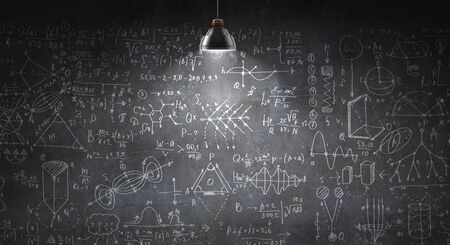 Background conceptual image with science sketches on chalkboard Banco de Imagens - 136047539