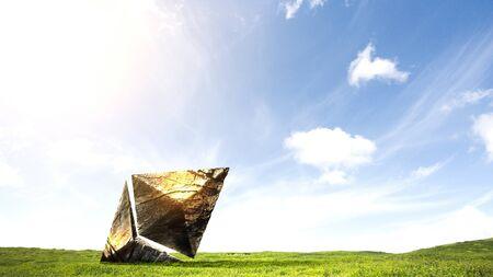 Stone ethereum symbol as symbol of success. Mixed media