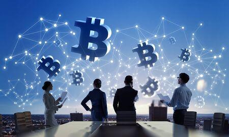 Silhouetten von Geschäftsleuten, die als Team und Kryptowährungskonzept arbeiten. 3D-Rendering