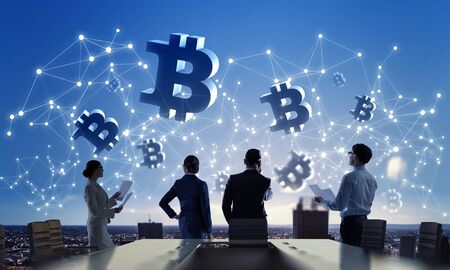 Silhouettes of businesspeople working as team and crypto currency concept. 3D rendering