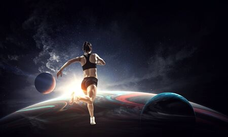 Young athlete girl running on globe.