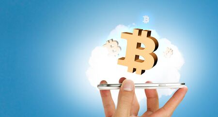 Close of businessman using smartphone and bitcoin icons as concept. 3D rendering