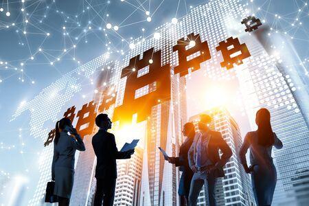 Financial technology concept. Mixed media Imagens