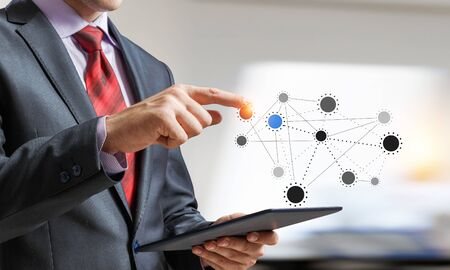 Close up of businessperson using tablet representing cloud computing concept. 3d rendering Banque d'images
