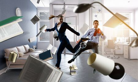 Business team games. Mixed media Stock Photo
