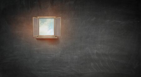 Image of open window in wall as concept of business success. Mixed media 写真素材