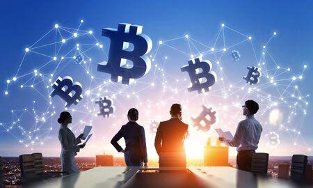Financial technology concept. Mixed media