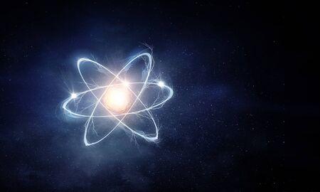 Molécule d'atome sur fond d'espace comme concept scientifique. Rendu 3D
