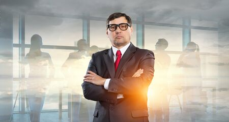 Senior confident businessman . Mixed media
