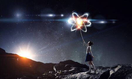 Atom molecule. Mixed media . Mixed media Imagens