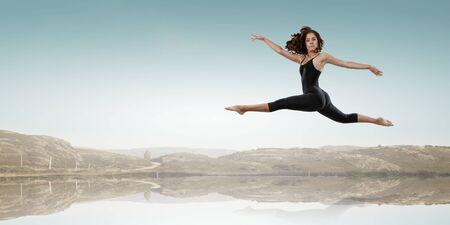 Gymnast girl in jump Mixed media