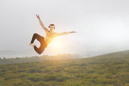 Dancer guy in jump. Mixed media