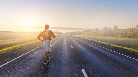 Athlete man running race. Mixed media