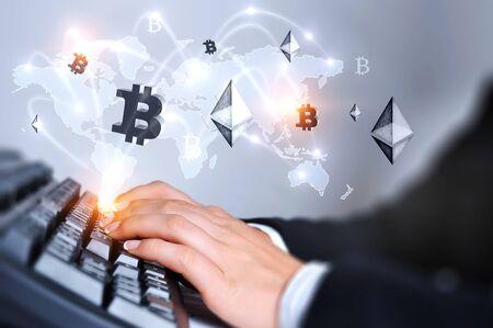 Crypto currency market . Mixed media