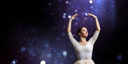 Ballet dancer in jump . Mixed media Reklamní fotografie