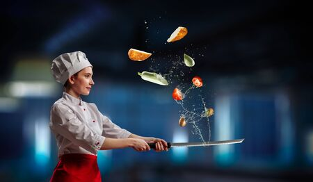He is crazy about cooking. Mixed media