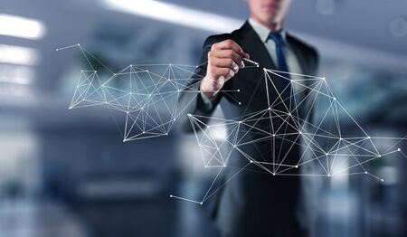 Close of businessman drawing connection lines of network concept. 3d rendering