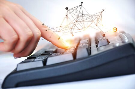 Close up of businesswoman touching keyboard. 3d rendering