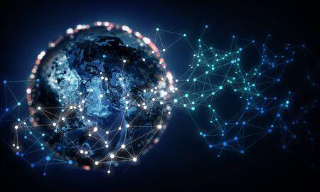 Internet-Konzept des globalen Geschäfts und der drahtlosen Verbindung. 3D-Rendering. Elemente dieses Bildes werden bereitgestellt von Standard-Bild