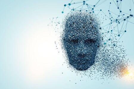 Modern technology concept wih cyber robot face. 3d rendering