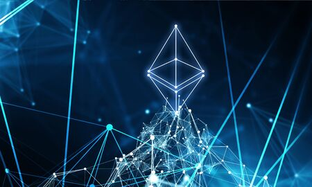 Bitcoin and Ethereum symbols on abstract blue background. 3d rendering