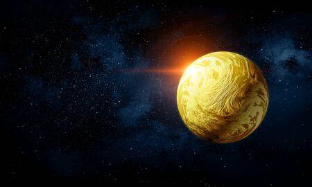 Mercury planet in dark sky background .