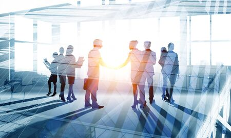 Silhouettes of business people shaking hands to greet each other