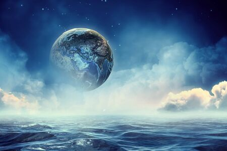 Fantasy image with space planets and sea waters.