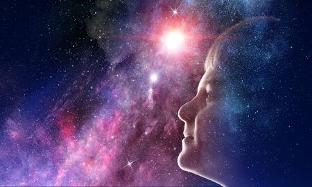 Profile of kid boy against space starry background Standard-Bild
