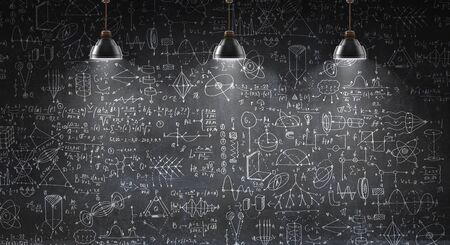 Background conceptual image with science sketches on chalkboard 스톡 콘텐츠