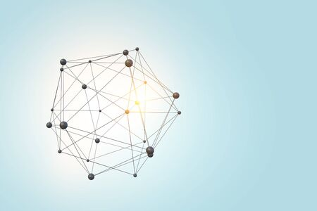 Connection structure with lines and dots against dark background. 3d rendering